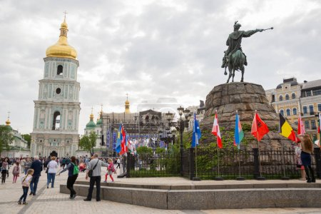 Photo for KYIV, UKRAINE - APRIL 30, 2017: People on Sofiivska Square near Eurovision song contest  fan zone in Kyiv, Ukraine - Royalty Free Image