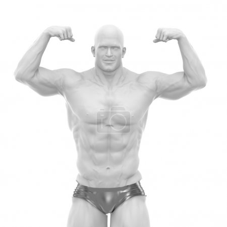 man body builder showing muscles