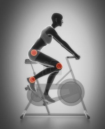 woman riding gym bicycle