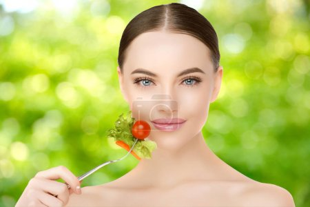 Photo for Diet. Dieting concept. Diet plan for woman. Girl and healthy food, slim body. Slimming treatment. Healthy lifestyle - Royalty Free Image