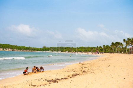 PUNTA CANA, DOMINICAN REPUBLIC - MAY 22 2017: View of the sandy beach. Copy space for text.