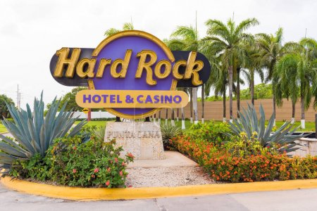 PUNTA CANA, DOMINICAN REPUBLIC - MAY 22 2017: Sign of the hotel and the casino