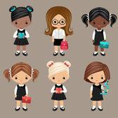 Back in school Six schoolgirls