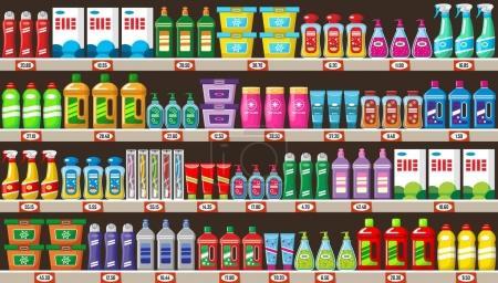 Illustration pour Étagères avec produits chimiques ménagers en magasin. Illustration vectorielle - image libre de droit