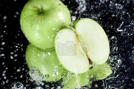 green apples with drops