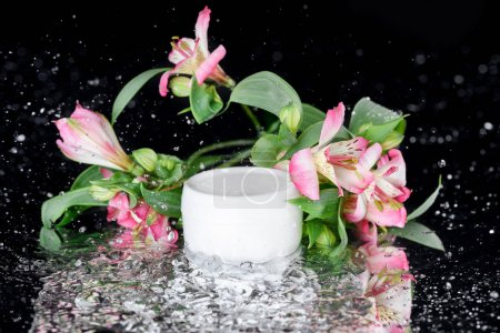 Face cream with flowers