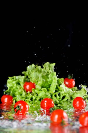 cherry tomatoes and lettuce