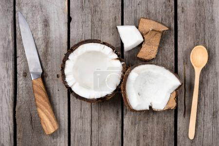 tropical coconut with knife and spoon
