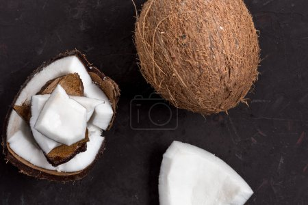 pieces of ripe tropical coconut