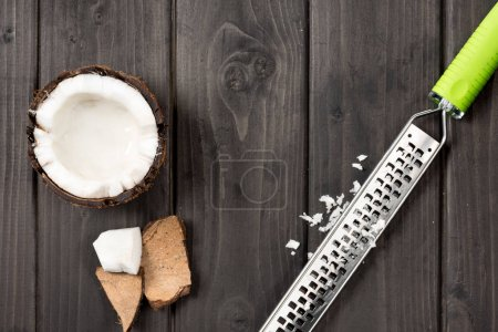 coconut pieces with grater