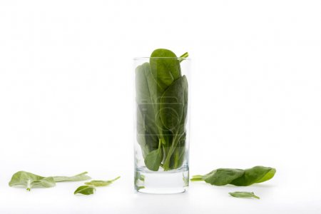 spinach leaves in glass