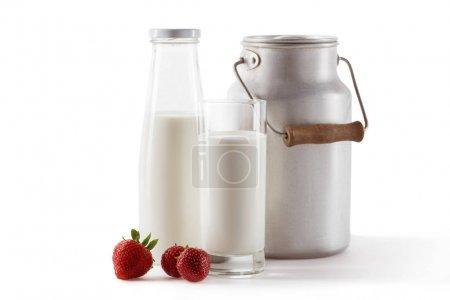 milk and fresh strawberries