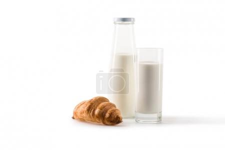 milk and homemade croissant