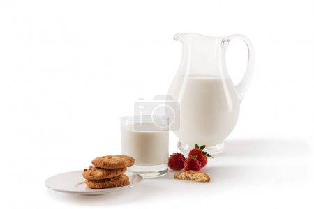 milk and strawberries and cookies