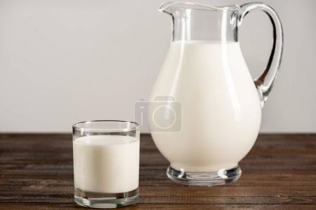 Frischmilch in Glas und Krug