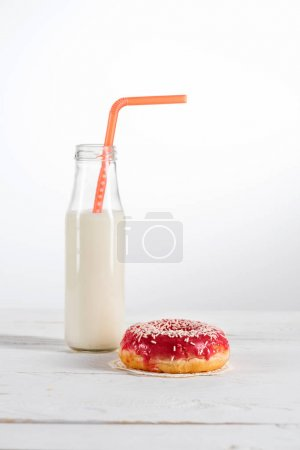 sweet doughnut and milk