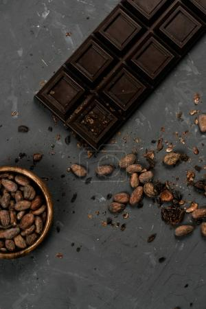 chocolate bar with cocoa beans
