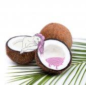 Woman bathing in coconut half
