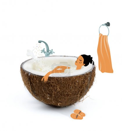 Photo for Drawn woman bathing in coconut half with milk isolated on white, coconut milk - Royalty Free Image