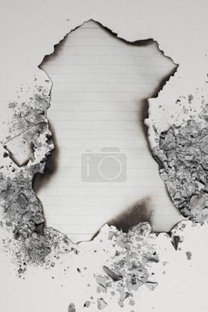 burned empty writing paper sheet