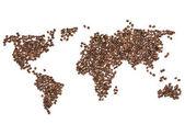 """Постер, картина, фотообои """"Карта мира из кофейных зерен"""""""
