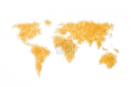 world map made from round pasta