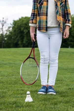 Girl with badminton racquet