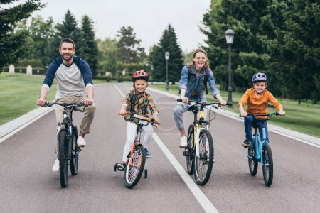 Family riding bicycles