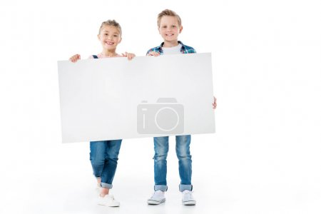 Cute kids with blank banner