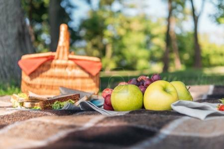 Picnic basket and fruits