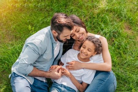 Photo for Portrait of happy family lying on green lawn together - Royalty Free Image