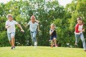 Multiethnic children playing in park