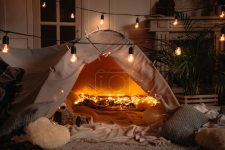 handmade tent with lights