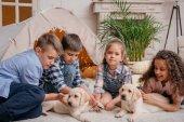 """Постер, картина, фотообои """"многонациональное детей с щенки лабрадора"""""""