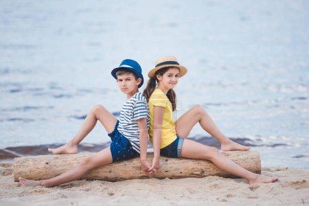 little boy and girl on beach