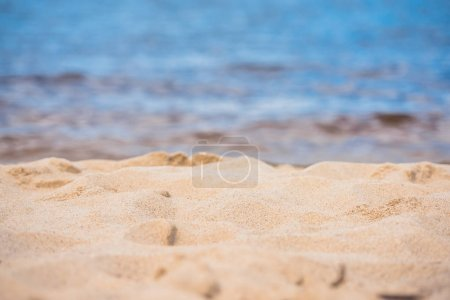 Photo for Selective focus of tranquil empty sandy beach at daytime - Royalty Free Image