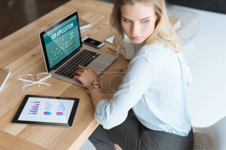 businesswoman at workplace with laptop