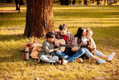Family on picnic playing guitar