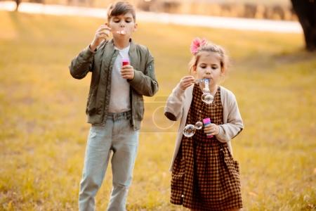 Siblings blowing soap bubbles