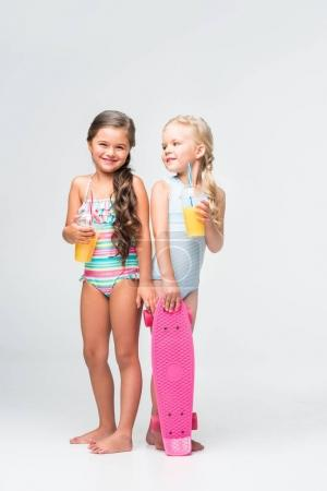 kids with skateboard and juice