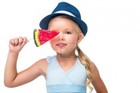 child in swimsuit with ice cream