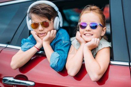 kids on car trip