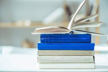 Photo for Close-up view of books on table top - Royalty Free Image