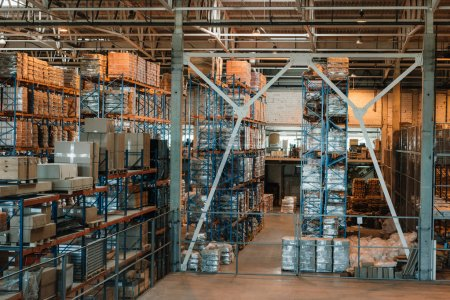 Photo for Modern warehouse interior with boxes and containers on shelves - Royalty Free Image