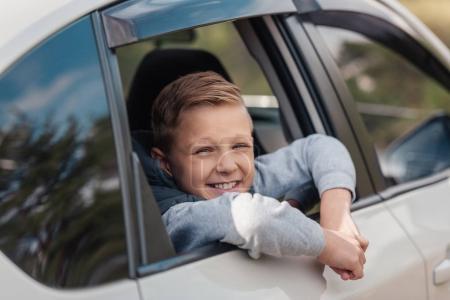 boy in car
