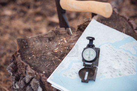 axe, map and compass