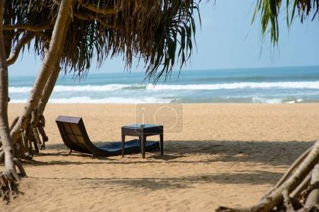sunbed on sandy beach