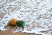 pineapple fallen by ocean wave