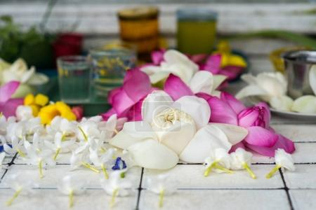 Photo for Beautiful flowers on tiles at buddha temple - Royalty Free Image