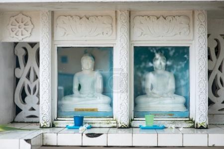 Photo for Buddha statues behind glass at Sri Lanka temple - Royalty Free Image